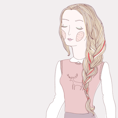 hairdo: Pretty young girl with long plait. Cartoon character