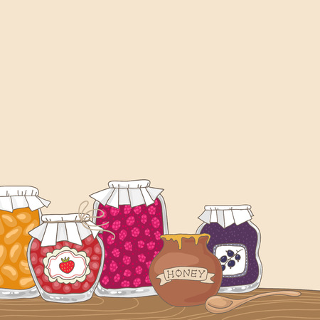 jams: Tasty home made jams in jars. Cartoon background illustration