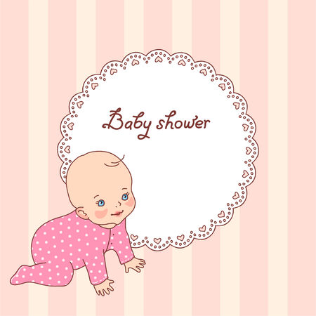 vintage baby: Pretty vintage baby shower card for girl