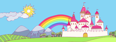 Cartoon panoramic landscape with castle. Cute illustration  Vector