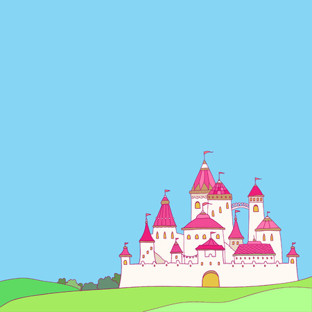 fairytale castle: Cartoon cute pink castle. Cute illustration