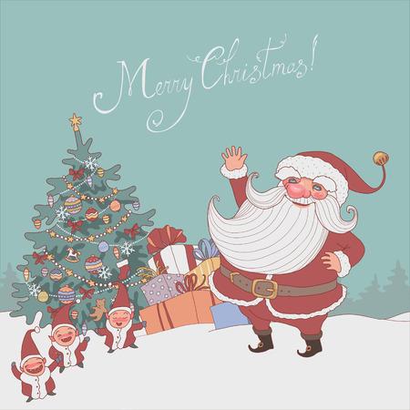 gnomos: Ilustración de dibujos animados. Papá y gnomos cerca del árbol de navidad Vectores