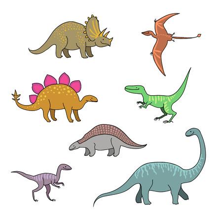 stegosaurus: Conjunto de personajes de dibujos animados divertidos dinosaurios felices.