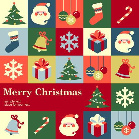 campanas: Ficha de plantilla de dise�o de la Navidad Vector de fondo