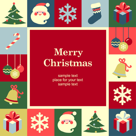 Christmas frame template card  Vector background