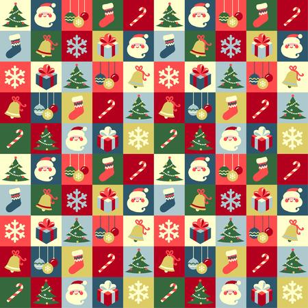 Christmas symbols abstract seamless background 矢量图像