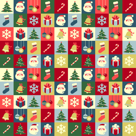 Christmas symbols abstract seamless background Vettoriali