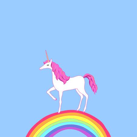 White cartoon unicorn on a rainbow Сute illustration Vector