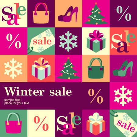 wintermode: Wintermode verkaufen Design-Vorlage Karte Vektor-Hintergrund