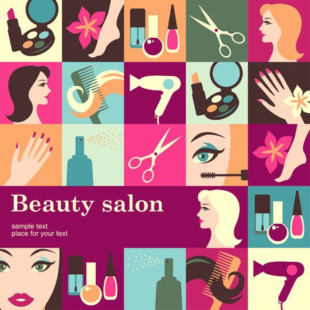 beautiful lady: Beauty salon design template card. Vector background