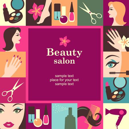 beauty girls: Beauty salon frame template card. Vector background