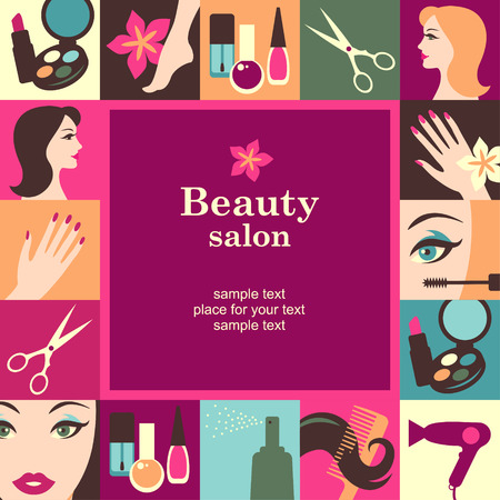 Beauty salon frame template card. Vector background