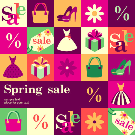 Spring fashion sale design template card. Vector background
