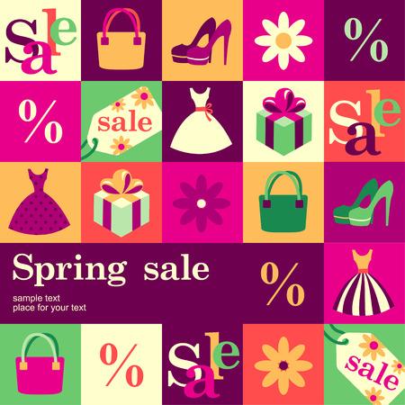 봄 패션 판매 디자인 템플릿 카드. 벡터 배경 일러스트