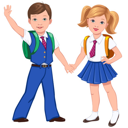 Boy and girl in uniform with school bags hold hands