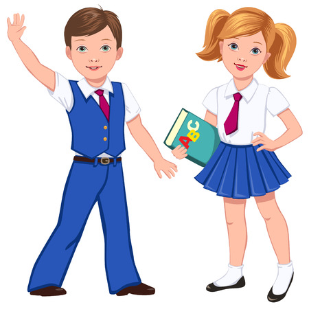 school uniform: Boy and girl with book in blue school uniform   Illustration