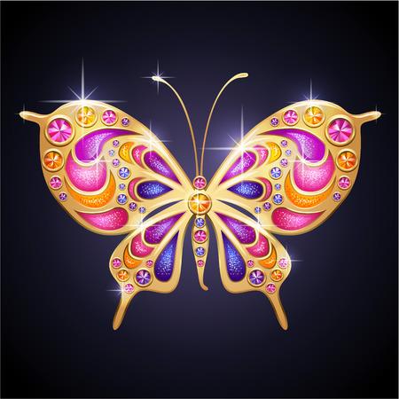 グラマー光沢のある宝石のピンクと金色の蝶