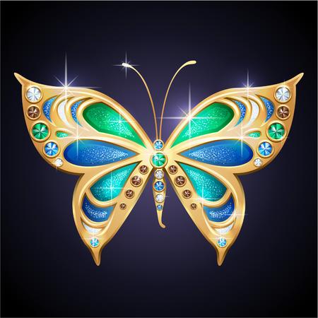 papillon rose: Glamour bleu bijoux brillants et papillon d'or Illustration