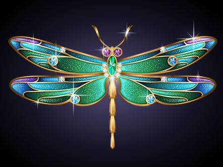 carats: Beauty jewel dragonfly on blue background  Vector Illustration