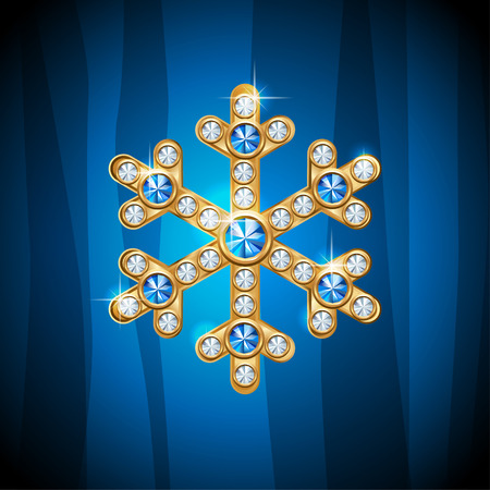 gold jewelry: Gold jewelry snowflake with gemstones for celebratory design