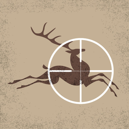 wildlife shooting: Running deer a target of hunting. Vector  illustration