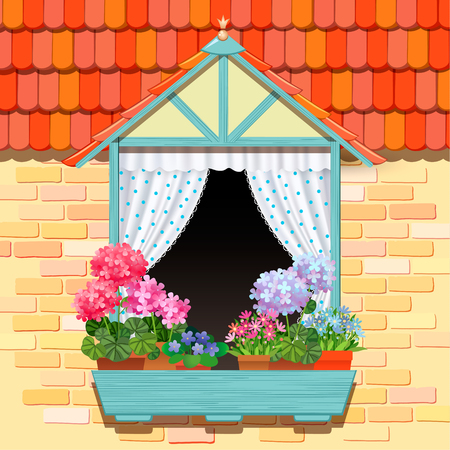 window curtain: Open window and flowers template background for design