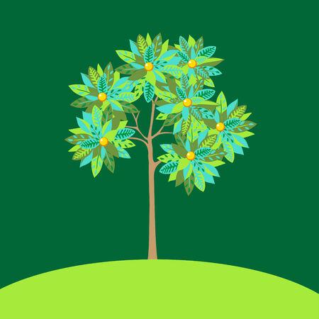 orange tree: Background illustration. Stylized growing green orange tree