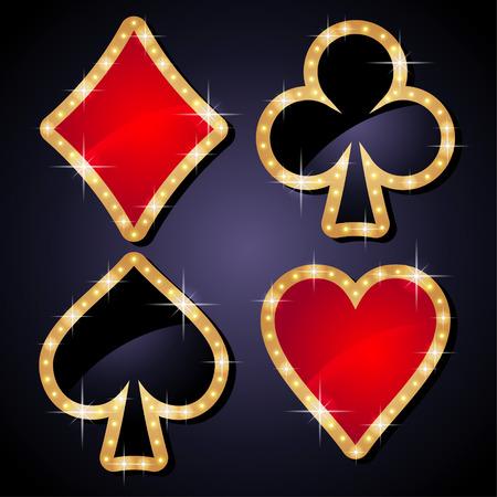 Set of glitter casino icons Vektorové ilustrace