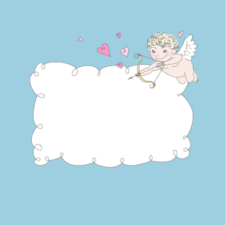love cloud: The cheerful archer Сupid and a cloud frame on a blue background
