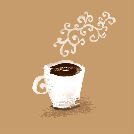 steaming coffee: Cup of coffee smell hand drawn illustration