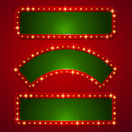 Set of holiday banners with flashlights on borders  Ilustração
