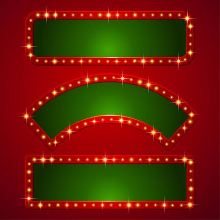 Set of holiday banners with flashlights on borders  Illusztráció