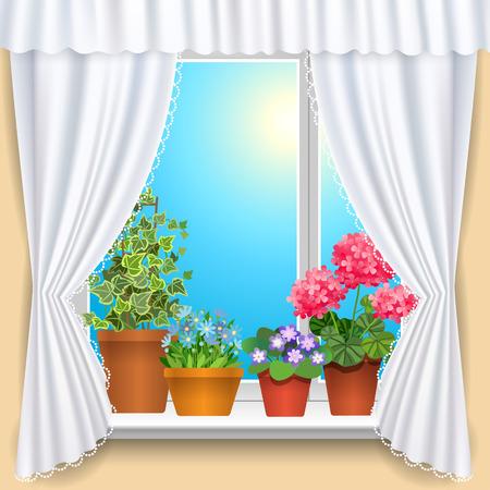 finestra: Finestra con tende bianche e fiori template di sfondo per la progettazione Vettoriali