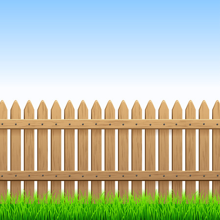 boundaries: Country wood fence and green grass Illustration