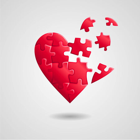 Abstract background  broken red puzzle heart Vector