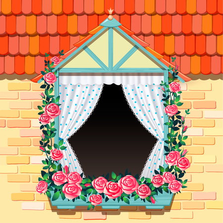 open window: Open window and roses template background for design Illustration