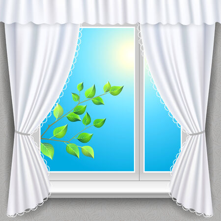 window view: Spring branch view from a window  Vector illustration Illustration