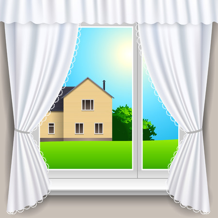 window view: Summer house view from a window  Vector illustration