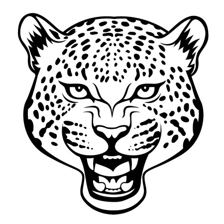 Stylized agressive leopard head  black illustration Ilustração