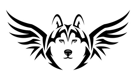 Fliegen Wolf. Tribal Tattoo-Design. Schwarz-Illustration isoliert auf weiß Illustration