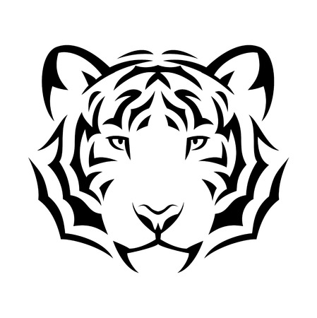 tiger head: Tribal tiger tattoo design illustration. Black isolated on white