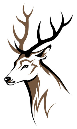 head to head: Stylized deer head tribal emblem illustration for your design  Illustration