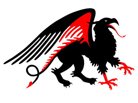 Medieval black griffin isolated on white Vector