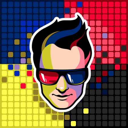 Men wearing 3d glasses on abstract pixel background Vector