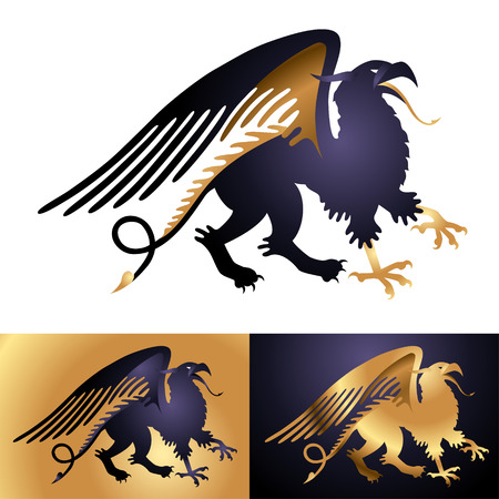 Heraldic mythology creature Griffin black isolated on white Vector