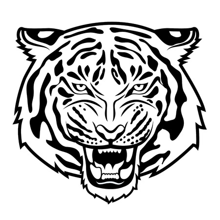 Roaring tiger s head isolated on white   Stock Illustratie