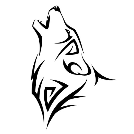 cabeza: Aullido del lobo tatuaje tribal del diseño ilustración