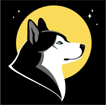 pure breed: Husky dog and moon on night sky  illustration
