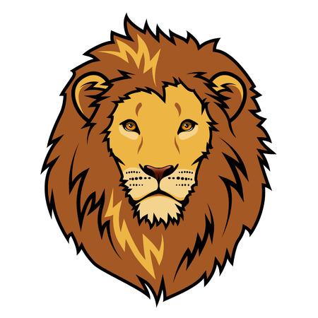 Emblem stylized lion head color illustration