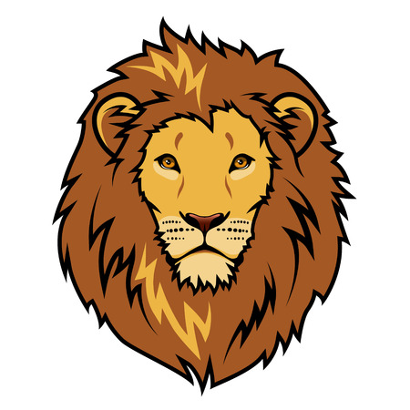 Emblem stylized lion head color illustration